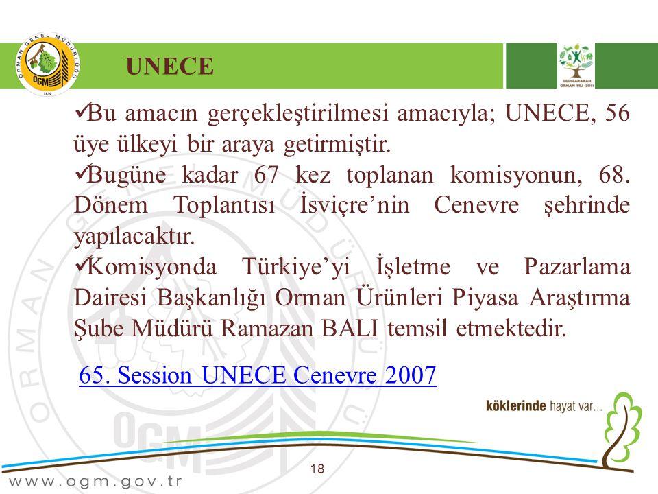UNECE 18 Bu amacın gerçekleştirilmesi amacıyla; UNECE, 56 üye ülkeyi bir araya getirmiştir. Bugüne kadar 67 kez toplanan komisyonun, 68. Dönem Toplant