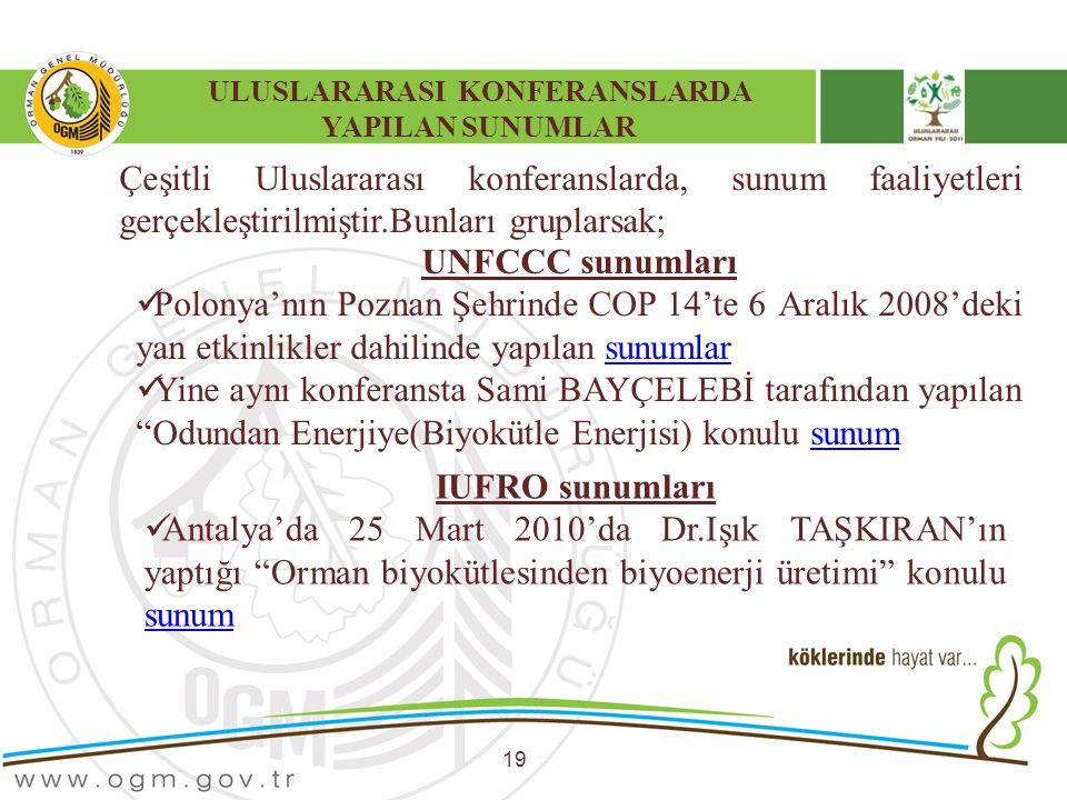 ULUSLARARASI KONFERANSLARDA YAPILAN SUNUMLAR 19 Çeşitli Uluslararası konferanslarda, sunum faaliyetleri gerçekleştirilmiştir.Bunları gruplarsak; UNFCC