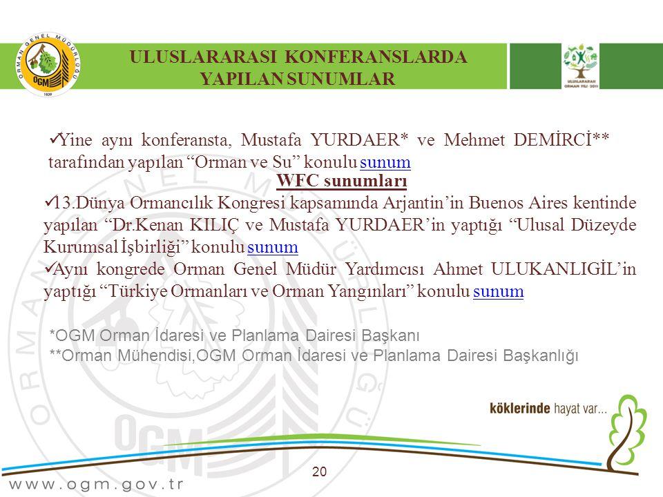"""ULUSLARARASI KONFERANSLARDA YAPILAN SUNUMLAR 20 Yine aynı konferansta, Mustafa YURDAER* ve Mehmet DEMİRCİ** tarafından yapılan """"Orman ve Su"""" konulu su"""