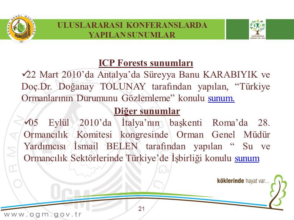 ULUSLARARASI KONFERANSLARDA YAPILAN SUNUMLAR 21 ICP Forests sunumları 22 Mart 2010'da Antalya'da Süreyya Banu KARABIYIK ve Doç.Dr. Doğanay TOLUNAY tar