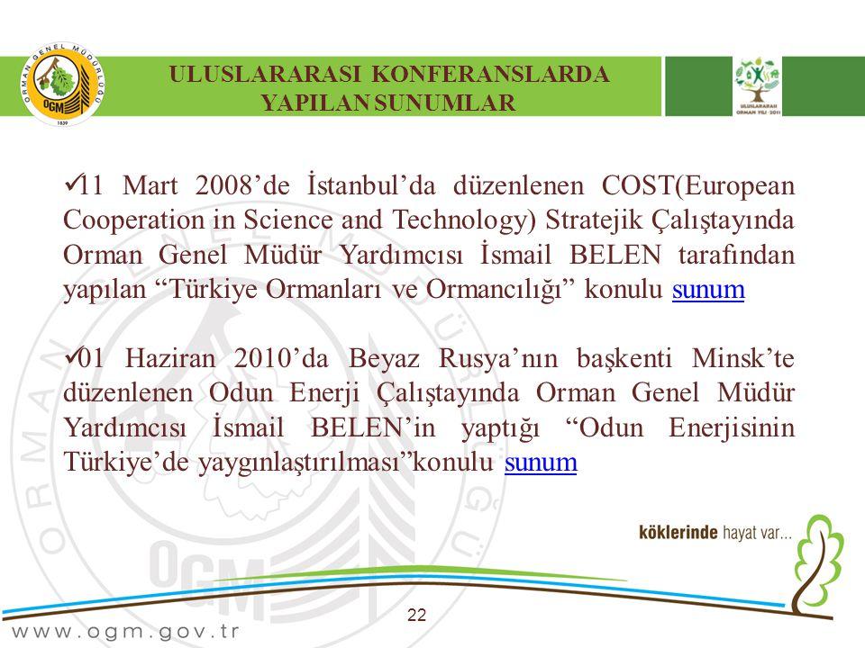 ULUSLARARASI KONFERANSLARDA YAPILAN SUNUMLAR 22 11 Mart 2008'de İstanbul'da düzenlenen COST(European Cooperation in Science and Technology) Stratejik