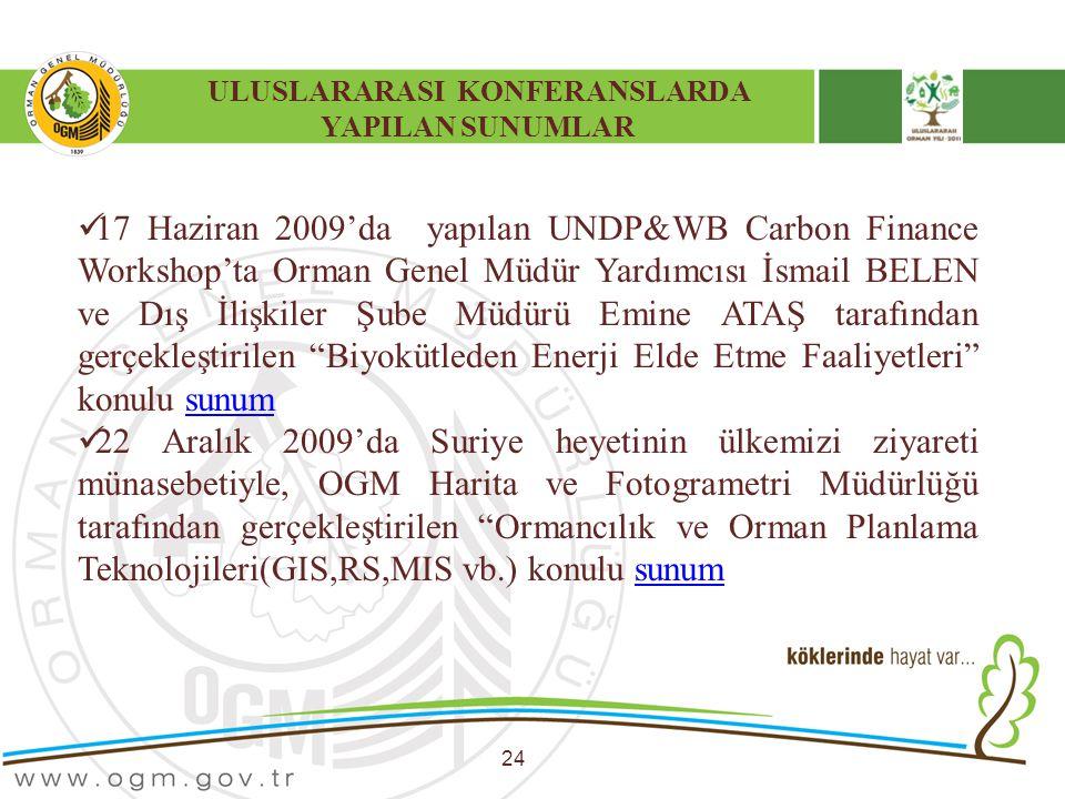 ULUSLARARASI KONFERANSLARDA YAPILAN SUNUMLAR 24 17 Haziran 2009'da yapılan UNDP&WB Carbon Finance Workshop'ta Orman Genel Müdür Yardımcısı İsmail BELE
