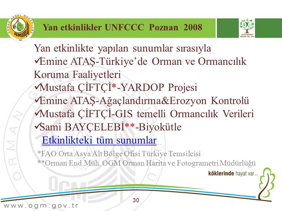 Yan etkinlikler UNFCCC Poznan 2008 30 Yan etkinlikte yapılan sunumlar sırasıyla Emine ATAŞ-Türkiye'de Orman ve Ormancılık Koruma Faaliyetleri Mustafa