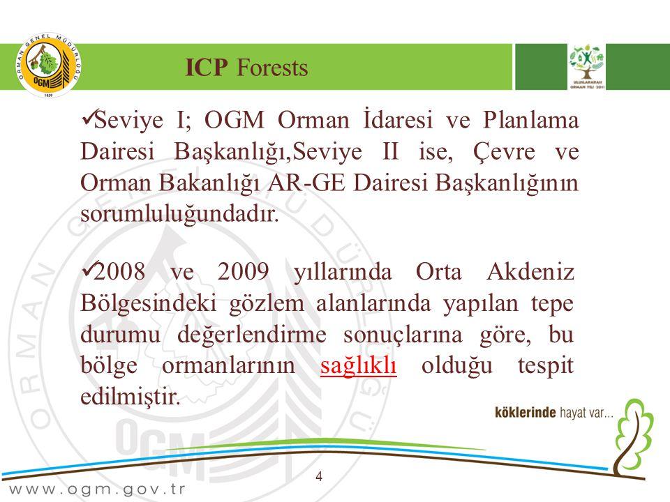 ICP Forests 4 Seviye I; OGM Orman İdaresi ve Planlama Dairesi Başkanlığı,Seviye II ise, Çevre ve Orman Bakanlığı AR-GE Dairesi Başkanlığının sorumlulu