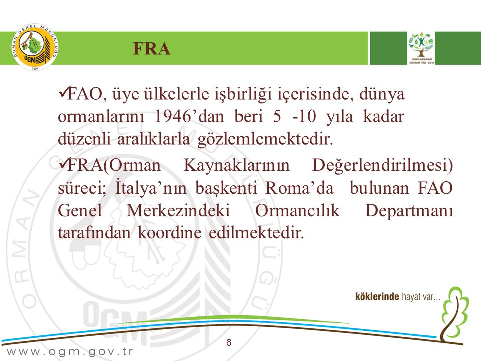 FRA 6 FAO, üye ülkelerle işbirliği içerisinde, dünya ormanlarını 1946'dan beri 5 -10 yıla kadar düzenli aralıklarla gözlemlemektedir. FRA(Orman Kaynak