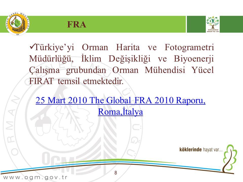 FRA 8 Türkiye'yi Orman Harita ve Fotogrametri Müdürlüğü, İklim Değişikliği ve Biyoenerji Çalışma grubundan Orman Mühendisi Yücel FIRAT temsil etmekted