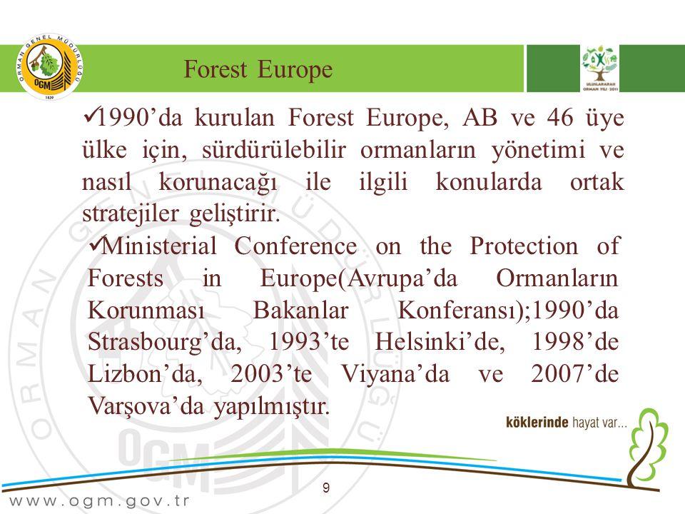Forest Europe 9 1990'da kurulan Forest Europe, AB ve 46 üye ülke için, sürdürülebilir ormanların yönetimi ve nasıl korunacağı ile ilgili konularda ort