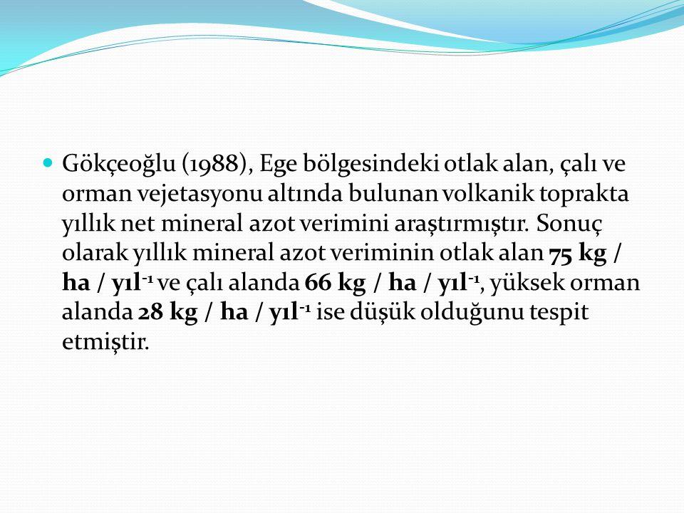 Gökçeoğlu (1988), Ege bölgesindeki otlak alan, çalı ve orman vejetasyonu altında bulunan volkanik toprakta yıllık net mineral azot verimini araştırmış