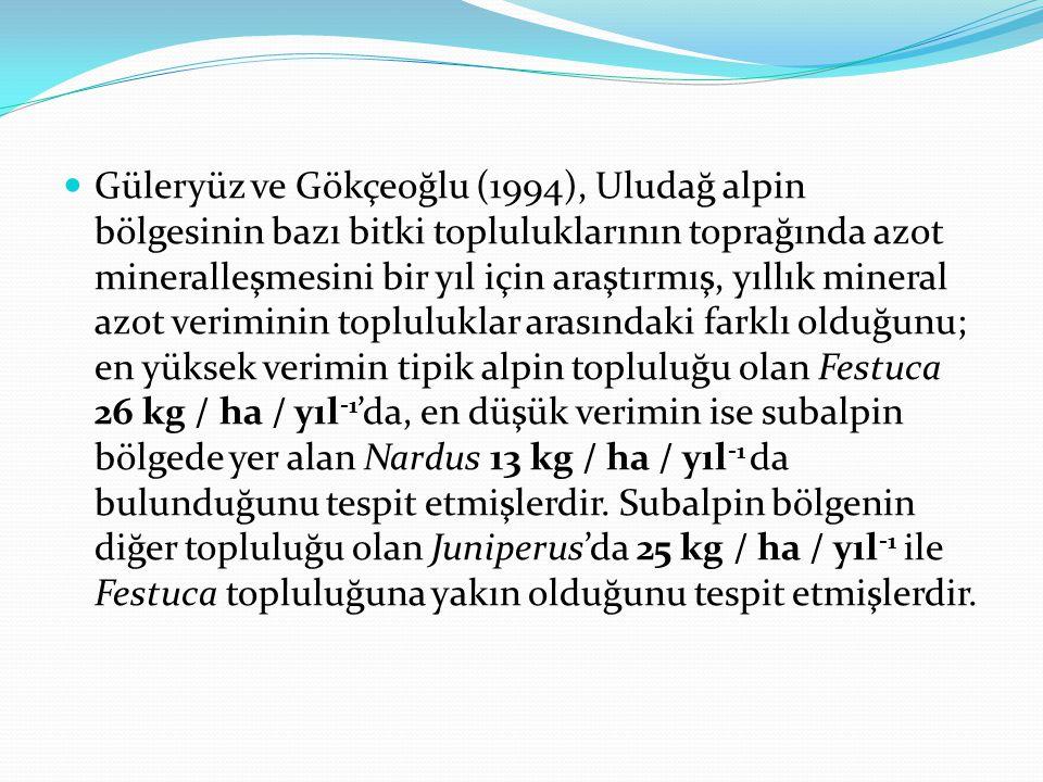 Güleryüz ve Gökçeoğlu (1994), Uludağ alpin bölgesinin bazı bitki topluluklarının toprağında azot mineralleşmesini bir yıl için araştırmış, yıllık mine