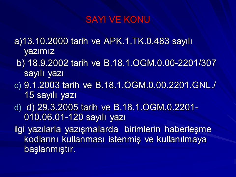 SAYI VE KONU a)13.10.2000 tarih ve APK.1.TK.0.483 sayılı yazımız b) 18.9.2002 tarih ve B.18.1.OGM.0.00-2201/307 sayılı yazı b) 18.9.2002 tarih ve B.18