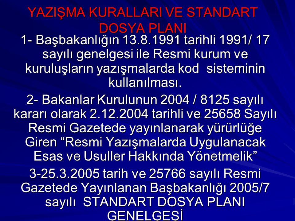 YAZIŞMA KURALLARI VE STANDART DOSYA PLANI 1- Başbakanlığın 13.8.1991 tarihli 1991/ 17 sayılı genelgesi ile Resmi kurum ve kuruluşların yazışmalarda ko