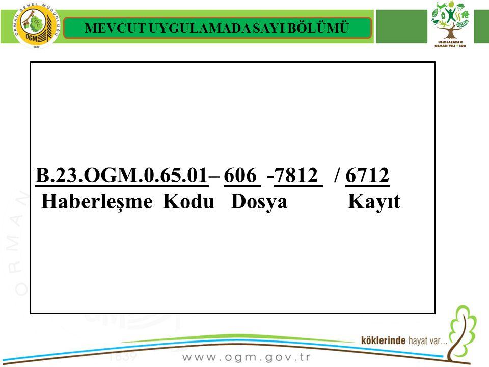 16/12/2010 Kurumsal Kimlik 12 B.23.OGM.0.65.01– 606 -7812 / 6712 Haberleşme Kodu Dosya Kayıt MEVCUT UYGULAMADA SAYI BÖLÜMÜ