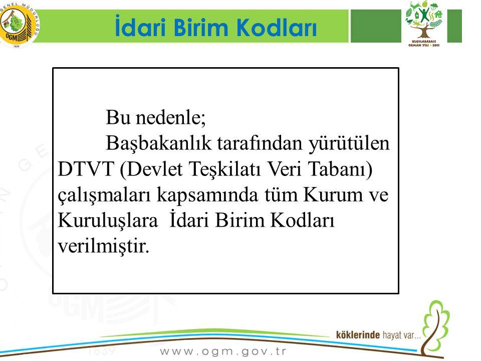 16/12/2010 Kurumsal Kimlik 15 İdari Birim Kodları Bu nedenle; Başbakanlık tarafından yürütülen DTVT (Devlet Teşkilatı Veri Tabanı) çalışmaları kapsamı