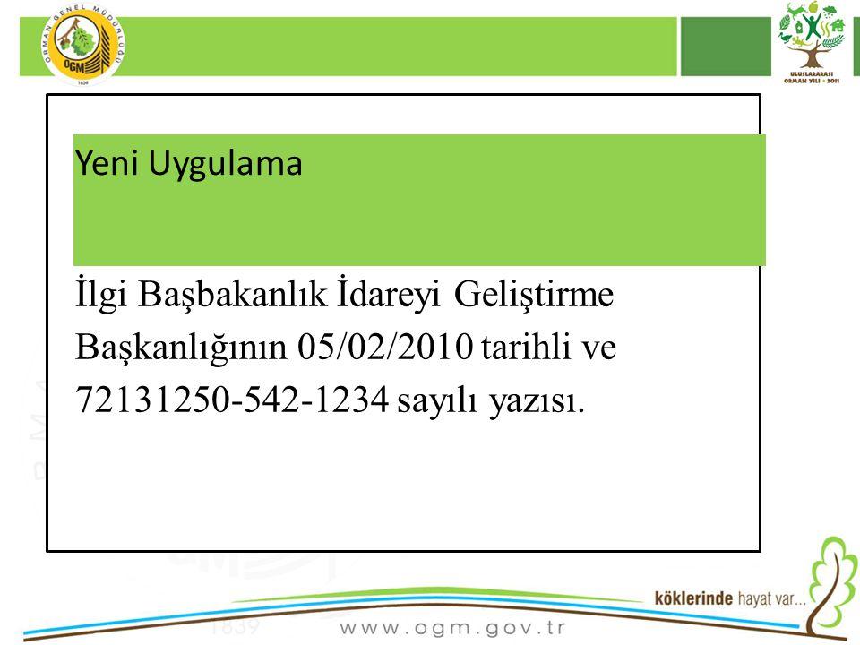 16/12/2010 Kurumsal Kimlik 21 Yeni Uygulama İlgi Başbakanlık İdareyi Geliştirme Başkanlığının 05/02/2010 tarihli ve 72131250-542-1234 sayılı yazısı.