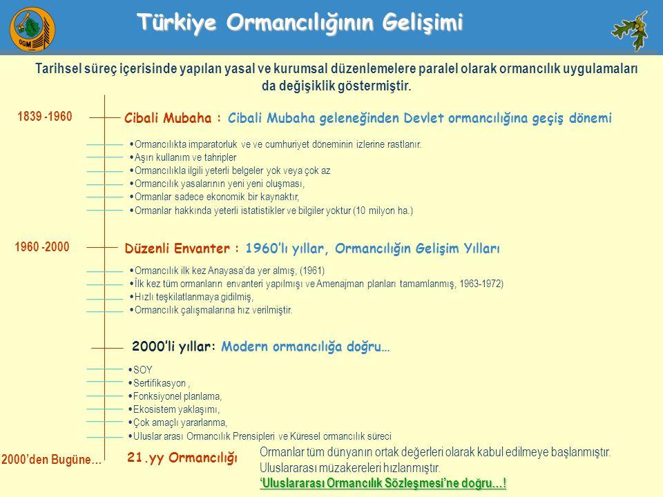 1839 -1960 Cibali Mubaha : Cibali Mubaha geleneğinden Devlet ormancılığına geçiş dönemi 1960 -2000 2000'den Bugüne… Düzenli Envanter : 1960'lı yıllar,