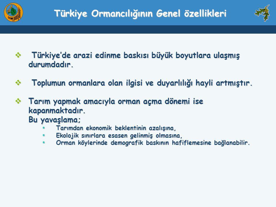  Türkiye'de arazi edinme baskısı büyük boyutlara ulaşmış durumdadır.  Toplumun ormanlara olan ilgisi ve duyarlılığı hayli artmıştır.  Tarım yapmak