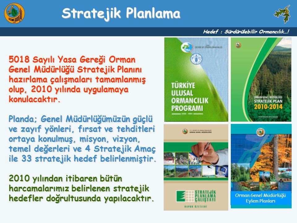 5018 Sayılı Yasa Gereği Orman Genel Müdürlüğü Stratejik Planını hazırlama çalışmaları tamamlanmış olup, 2010 yılında uygulamaya konulacaktır. Planda;