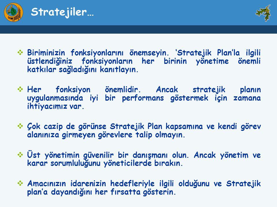 Stratejiler…  Biriminizin fonksiyonlarını önemseyin. 'Stratejik Plan'la ilgili üstlendiğiniz fonksiyonların her birinin yönetime önemli katkılar sağl