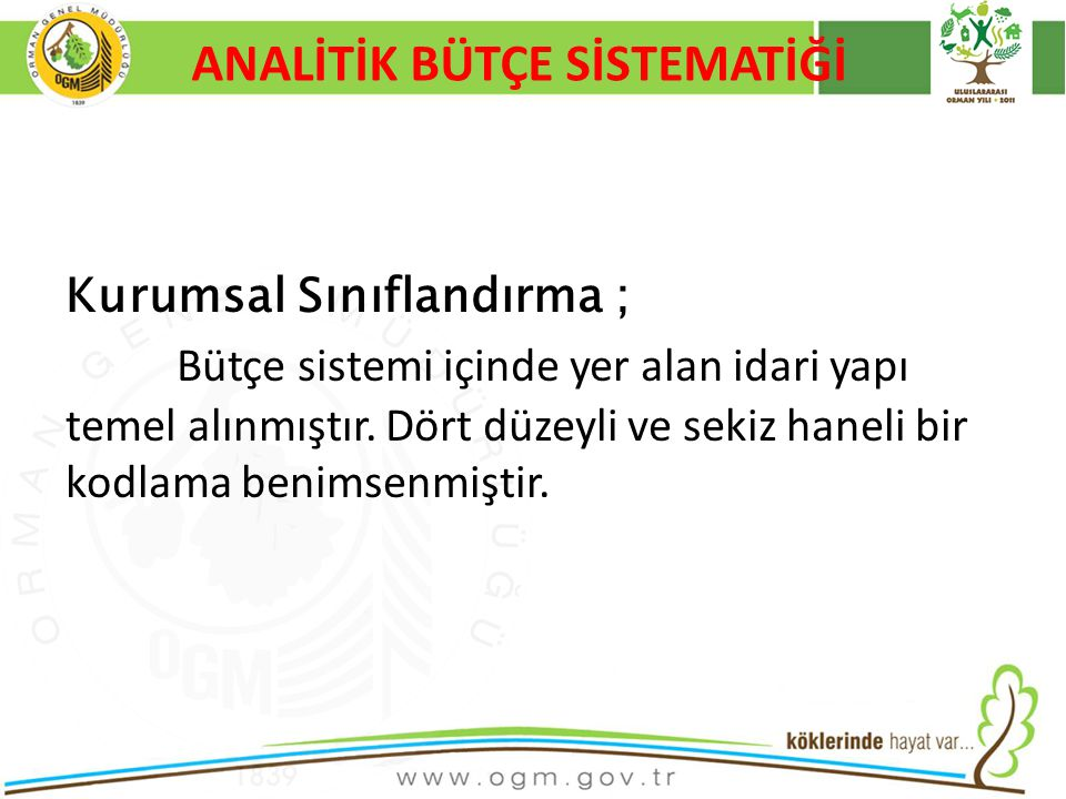 16/12/2010 Kurumsal Kimlik 17 ANALİTİK BÜTÇE SİSTEMATİĞİ Kurumsal Sınıflandırma ; Bütçe sistemi içinde yer alan idari yapı temel alınmıştır.