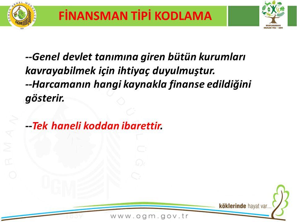 16/12/2010 Kurumsal Kimlik 27 FİNANSMAN TİPİ KODLAMA --Genel devlet tanımına giren bütün kurumları kavrayabilmek için ihtiyaç duyulmuştur.