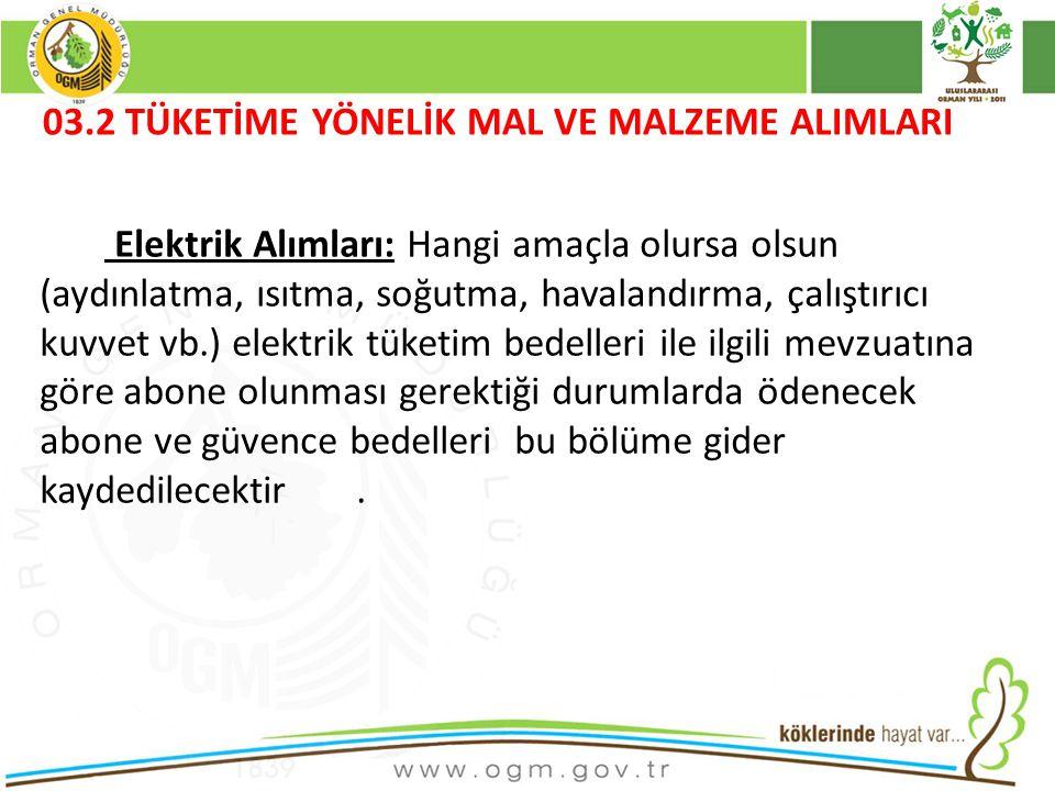 16/12/2010 Kurumsal Kimlik 49 03.2 TÜKETİME YÖNELİK MAL VE MALZEME ALIMLARI Elektrik Alımları: Hangi amaçla olursa olsun (aydınlatma, ısıtma, soğutma, havalandırma, çalıştırıcı kuvvet vb.) elektrik tüketim bedelleri ile ilgili mevzuatına göre abone olunması gerektiği durumlarda ödenecek abone ve güvence bedelleri bu bölüme gider kaydedilecektir.