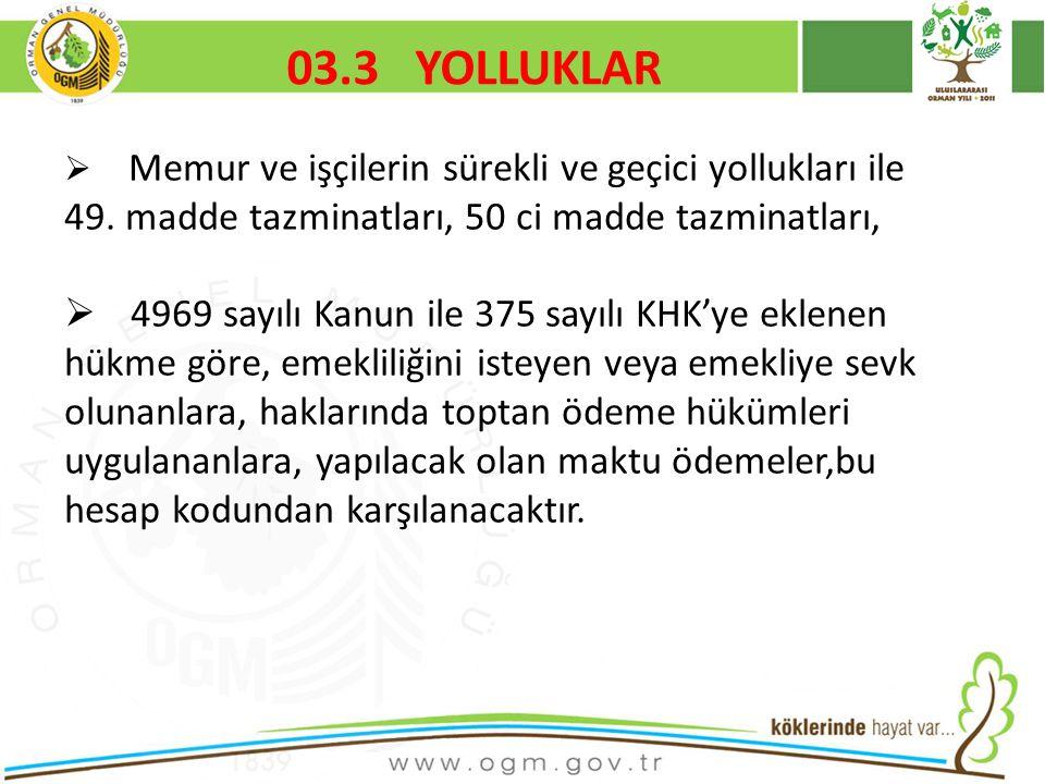 16/12/2010 Kurumsal Kimlik 51 03.3 YOLLUKLAR  Memur ve işçilerin sürekli ve geçici yollukları ile 49.
