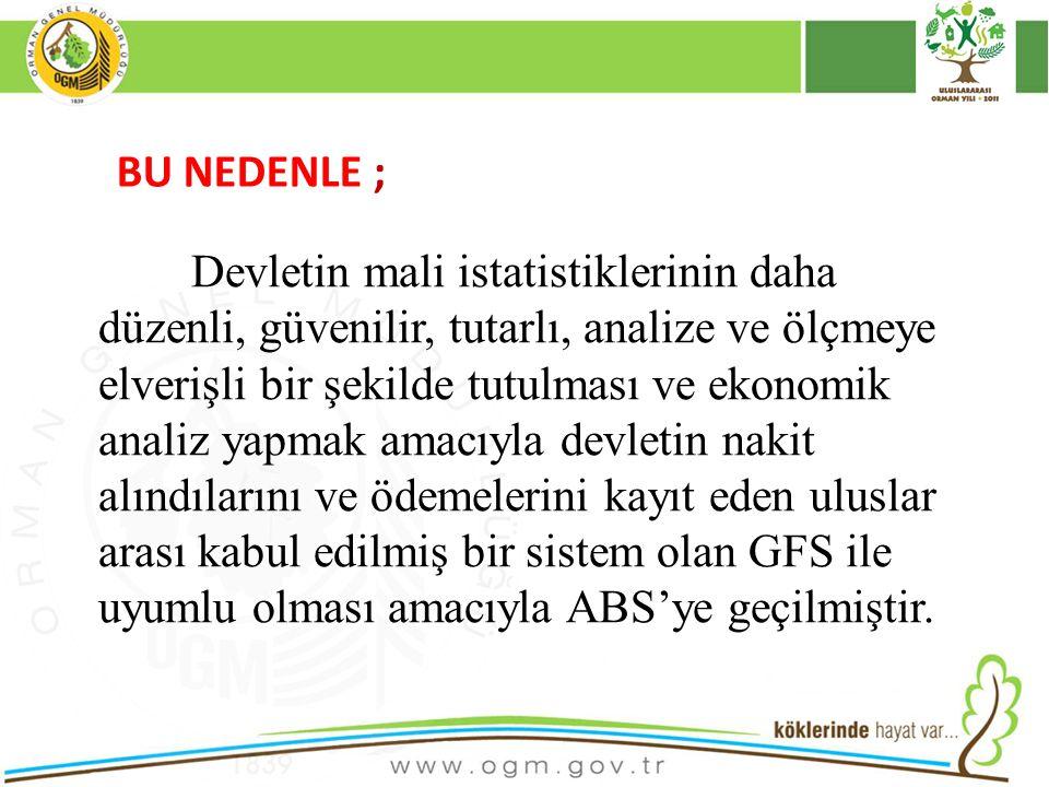 16/12/2010 Kurumsal Kimlik 6 BU NEDENLE ; Devletin mali istatistiklerinin daha düzenli, güvenilir, tutarlı, analize ve ölçmeye elverişli bir şekilde tutulması ve ekonomik analiz yapmak amacıyla devletin nakit alındılarını ve ödemelerini kayıt eden uluslar arası kabul edilmiş bir sistem olan GFS ile uyumlu olması amacıyla ABS'ye geçilmiştir.