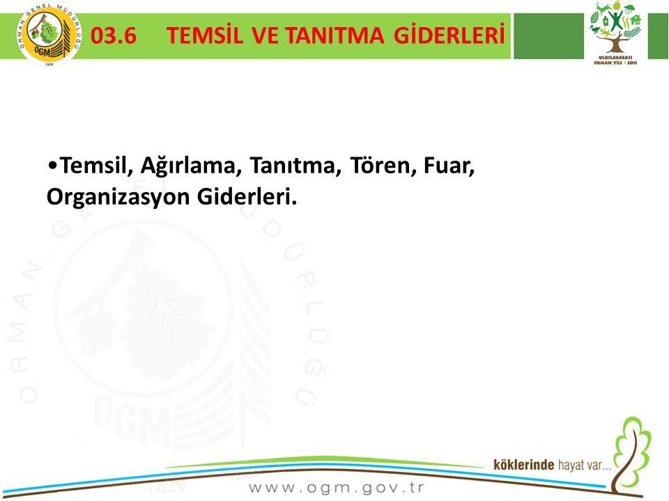 16/12/2010 Kurumsal Kimlik 63 03.6 TEMSİL VE TANITMA GİDERLERİ Temsil, Ağırlama, Tanıtma, Tören, Fuar, Organizasyon Giderleri.