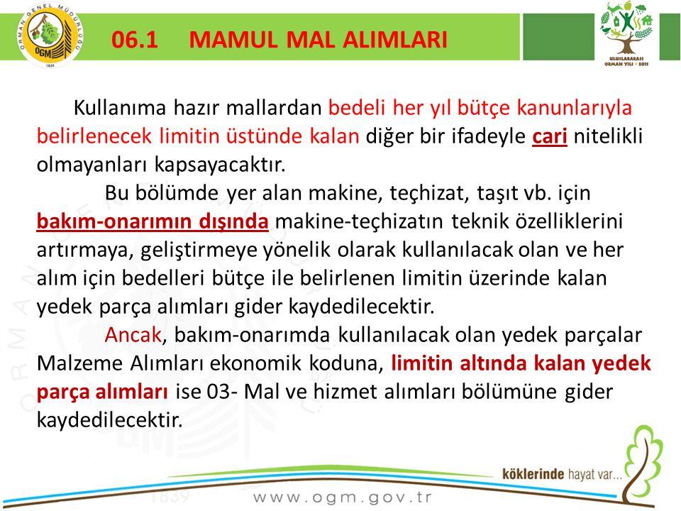16/12/2010 Kurumsal Kimlik 80 06.1 MAMUL MAL ALIMLARI Kullanıma hazır mallardan bedeli her yıl bütçe kanunlarıyla belirlenecek limitin üstünde kalan diğer bir ifadeyle cari nitelikli olmayanları kapsayacaktır.