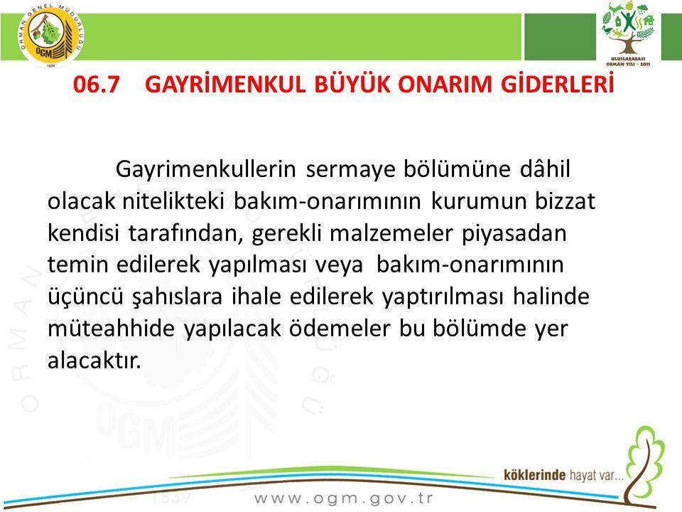 16/12/2010Kurumsal Kimlik 87 06.7 GAYRİMENKUL BÜYÜK ONARIM GİDERLERİ Gayrimenkullerin sermaye bölümüne dâhil olacak nitelikteki bakım-onarımının kurumun bizzat kendisi tarafından, gerekli malzemeler piyasadan temin edilerek yapılması veya bakım-onarımının üçüncü şahıslara ihale edilerek yaptırılması halinde müteahhide yapılacak ödemeler bu bölümde yer alacaktır.