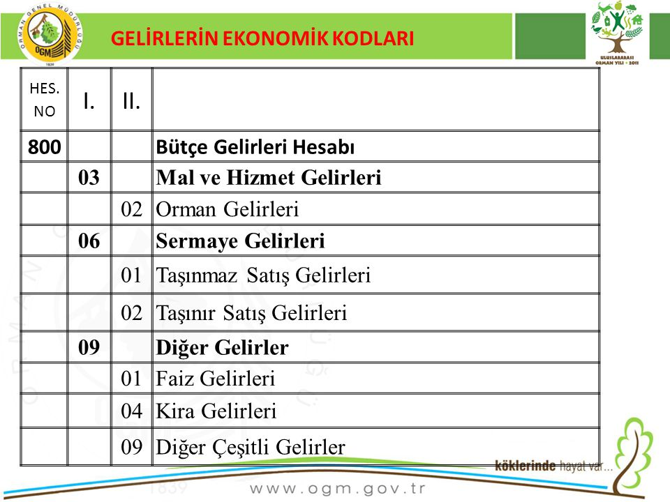 16/12/2010 Kurumsal Kimlik 93 GELİRLERİN EKONOMİK KODLARI HES.