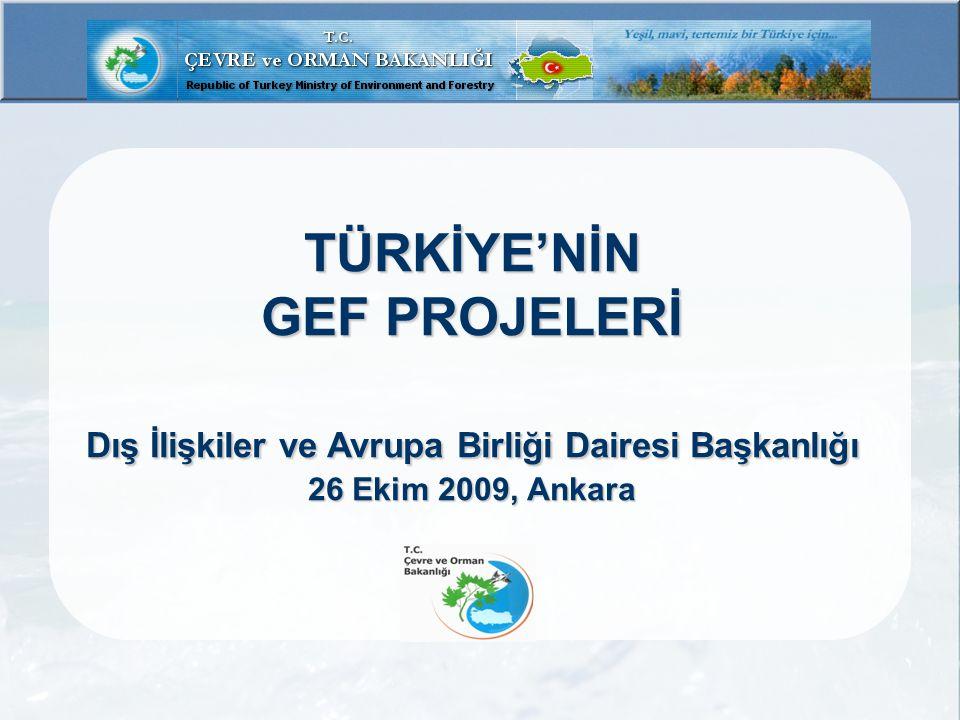 GEF Onaylanan  Türkiye'nin korunan alanlar sisteminin güçlendirilmesi: Deniz ve kıyı koruma alanlarının sürdürülebilirliğinin yaygınlaştırılması ÇOB-ÖÇKKB, UNDP GEF: 2.300.000 $ Ulusal Katkı : 4.000.000 $ Büyük Ölçekli Proje, Tahmini Başlama-Bitiş: Eylül 2009-2013 T.C.