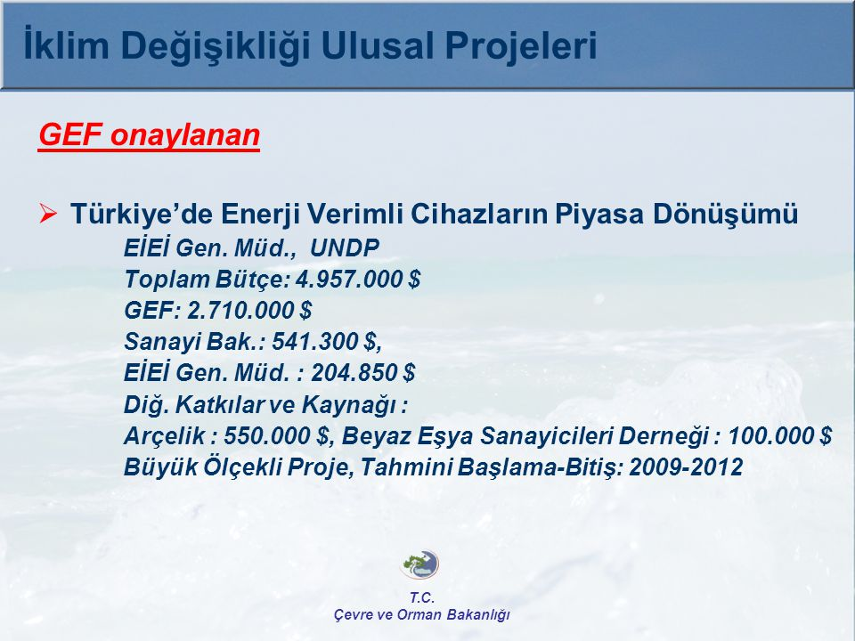 GEF onaylanan  Türkiye'de Enerji Verimli Cihazların Piyasa Dönüşümü EİEİ Gen. Müd., UNDP Toplam Bütçe: 4.957.000 $ GEF: 2.710.000 $ Sanayi Bak.: 541.