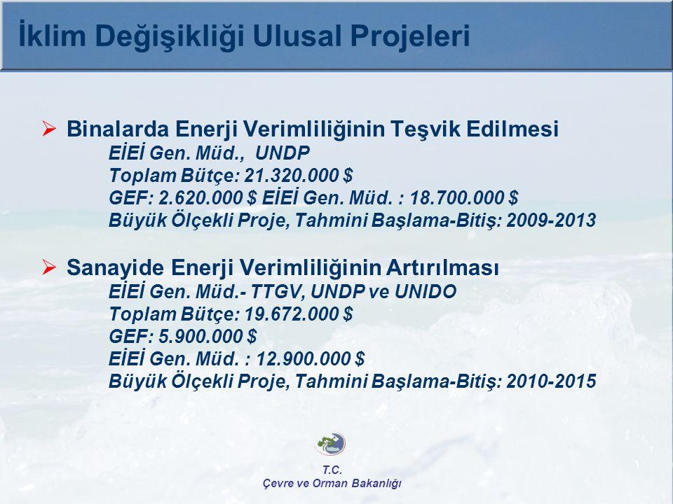  Binalarda Enerji Verimliliğinin Teşvik Edilmesi EİEİ Gen. Müd., UNDP Toplam Bütçe: 21.320.000 $ GEF: 2.620.000 $ EİEİ Gen. Müd. : 18.700.000 $ Büyük