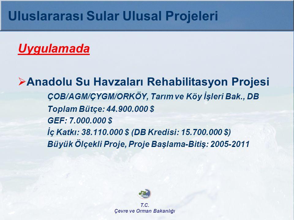 Uygulamada  Anadolu Su Havzaları Rehabilitasyon Projesi ÇOB/AGM/ÇYGM/ORKÖY, Tarım ve Köy İşleri Bak., DB Toplam Bütçe: 44.900.000 $ GEF: 7.000.000 $