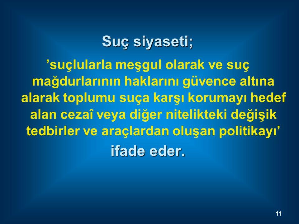 Suç siyaseti; 'suçlularla meşgul olarak ve suç mağdurlarının haklarını güvence altına alarak toplumu suça karşı korumayı hedef alan cezaî veya diğer n
