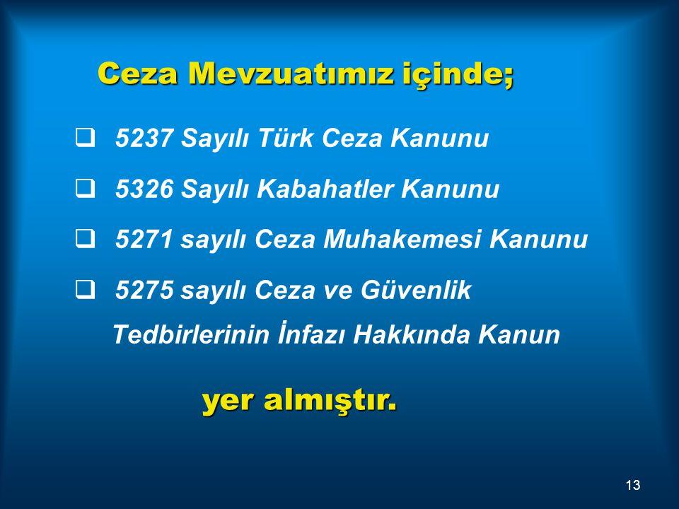 Ceza Mevzuatımız içinde;   5237 Sayılı Türk Ceza Kanunu   5326 Sayılı Kabahatler Kanunu   5271 sayılı Ceza Muhakemesi Kanunu   5275 sayılı Cez