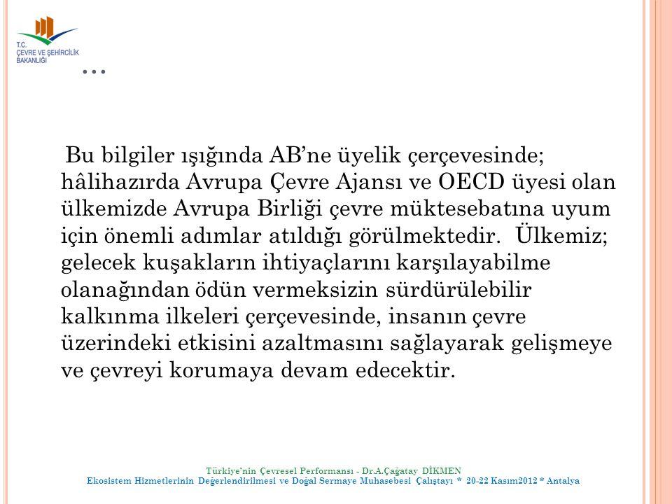 Türkiye'nin Çevresel Performansı - Dr.A.Çağatay DİKMEN Ekosistem Hizmetlerinin Değerlendirilmesi ve Doğal Sermaye Muhasebesi Çalıştayı * 20-22 Kasım20