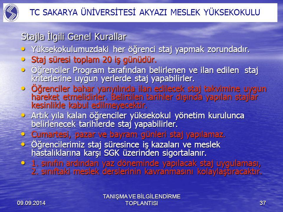 09.09.2014 TANIŞMA VE BİLGİLENDİRME TOPLANTISI37 Stajla İlgili Genel Kurallar Yüksekokulumuzdaki her öğrenci staj yapmak zorundadır. Yüksekokulumuzdak