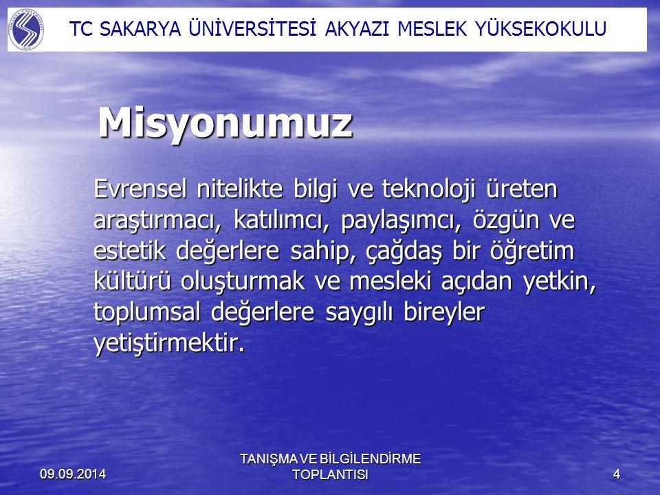 09.09.2014 TANIŞMA VE BİLGİLENDİRME TOPLANTISI5 Vizyonumuz Eğitim, öğretim ve araştırma kalitesi ile Türkiye ve Dünyada tanınmış ve ilk sıralarda tercih edilen;Eğitim, öğretim ve araştırma kalitesi ile Türkiye ve Dünyada tanınmış ve ilk sıralarda tercih edilen; Takım çalışmasını teşvik eden, katılımcı ve paylaşımcı bir yönetime sahip;Takım çalışmasını teşvik eden, katılımcı ve paylaşımcı bir yönetime sahip; İlimiz ve bölgemiz başta olmak üzere ülkemizin sorunlarını çözmeye yönelik çalışmalar yapan, üniversite / sanayi / toplum işbirliğini sağlamada öncü;İlimiz ve bölgemiz başta olmak üzere ülkemizin sorunlarını çözmeye yönelik çalışmalar yapan, üniversite / sanayi / toplum işbirliğini sağlamada öncü; Internet üzerinden yürütülen Önlisans / lisans / ve lisansüstü eğitim öğretimi etkin bir şekilde yürüten ve servis sağlayan;Internet üzerinden yürütülen Önlisans / lisans / ve lisansüstü eğitim öğretimi etkin bir şekilde yürüten ve servis sağlayan; Geleneksel sanatlarımızın özünü koruyarak çağdaş, kalıcı ve özgün eserler ortaya koyan;Geleneksel sanatlarımızın özünü koruyarak çağdaş, kalıcı ve özgün eserler ortaya koyan; Evrensel değerlere saygılı, toplam kalite yönetimi ilkelerini benimsemiş, sürekli gelişen; bir üniversite olmaktır.Evrensel değerlere saygılı, toplam kalite yönetimi ilkelerini benimsemiş, sürekli gelişen; bir üniversite olmaktır.
