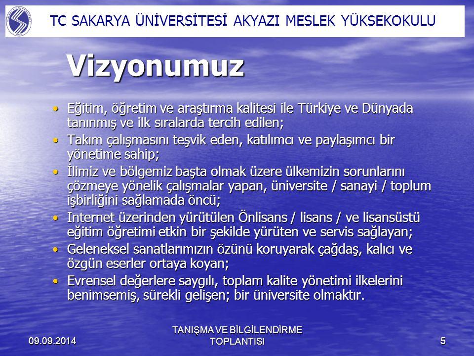 09.09.2014 TANIŞMA VE BİLGİLENDİRME TOPLANTISI6 Atatürk ilkelerine bağlı olmakAtatürk ilkelerine bağlı olmak Kanun ve yönetmeliklere uymakKanun ve yönetmeliklere uymak Bilimin evrenselliğine inanmakBilimin evrenselliğine inanmak Yenilikçi olmakYenilikçi olmak Doğruluktan ve dürüstlükten taviz vermemekDoğruluktan ve dürüstlükten taviz vermemek Kurum içinde uyum intibak ve dayanışmaya önem vermekKurum içinde uyum intibak ve dayanışmaya önem vermek Herkesi din, ırk, milliyet, renk, düşünce farklılığı gözetmeksizin sevmek ve saygılı olmakHerkesi din, ırk, milliyet, renk, düşünce farklılığı gözetmeksizin sevmek ve saygılı olmak Sürekli mükemmelliği yakalamaya çalışmakSürekli mükemmelliği yakalamaya çalışmak Zamanın kıymetini bilmekZamanın kıymetini bilmek Özgün araştırmalar yapmakÖzgün araştırmalar yapmak İşimizi sevmekİşimizi sevmek Temel Değerlerimiz TC SAKARYA ÜNİVERSİTESİ AKYAZI MESLEK YÜKSEKOKULU