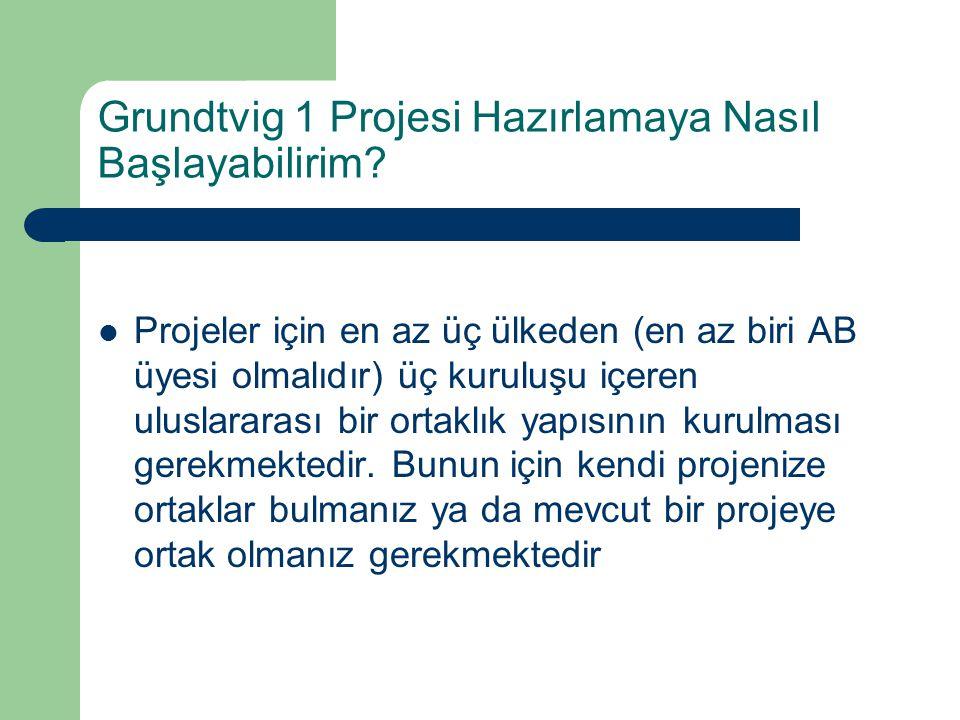 Grundtvig 1 Projesi Hazırlamaya Nasıl Başlayabilirim? Projeler için en az üç ülkeden (en az biri AB üyesi olmalıdır) üç kuruluşu içeren uluslararası b