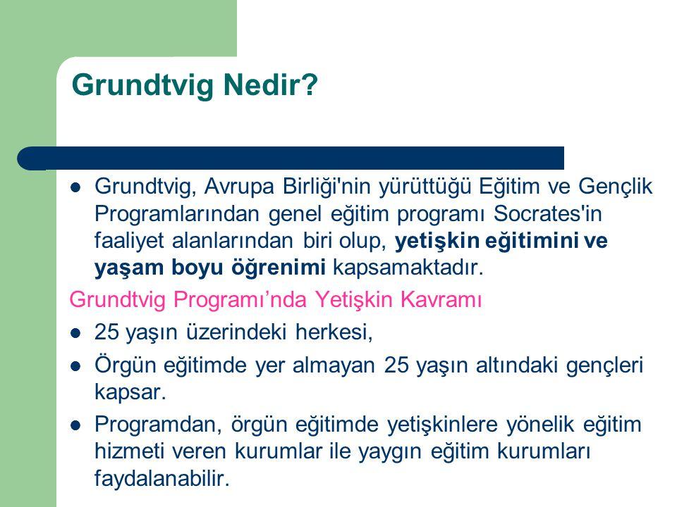 Grundtvig Nedir? Grundtvig, Avrupa Birliği'nin yürüttüğü Eğitim ve Gençlik Programlarından genel eğitim programı Socrates'in faaliyet alanlarından bir