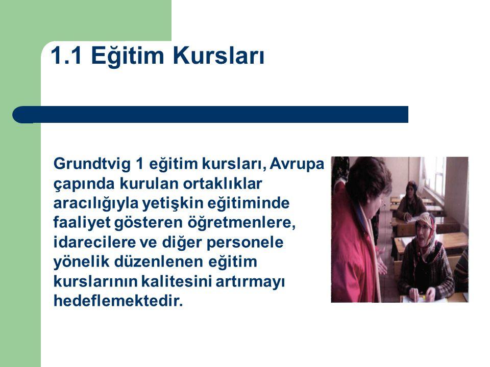 1.1 Eğitim Kursları Grundtvig 1 eğitim kursları, Avrupa çapında kurulan ortaklıklar aracılığıyla yetişkin eğitiminde faaliyet gösteren öğretmenlere, i
