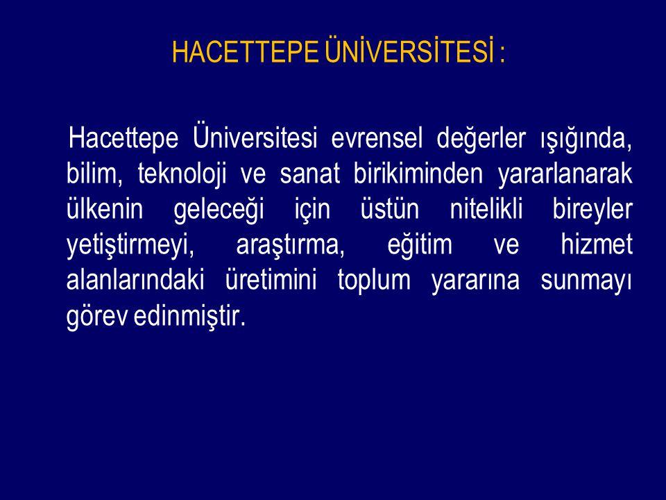 HACETTEPE ÜNİVERSİTESİ : Hacettepe Üniversitesi evrensel değerler ışığında, bilim, teknoloji ve sanat birikiminden yararlanarak ülkenin geleceği için üstün nitelikli bireyler yetiştirmeyi, araştırma, eğitim ve hizmet alanlarındaki üretimini toplum yararına sunmayı görev edinmiştir.