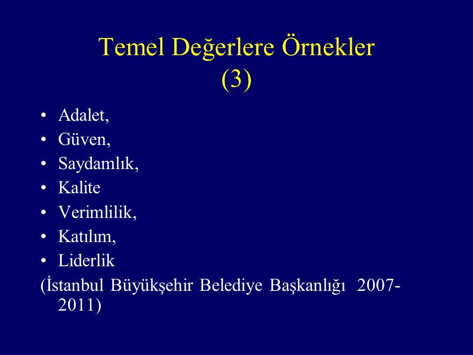 Temel Değerlere Örnekler (3) Adalet, Güven, Saydamlık, Kalite Verimlilik, Katılım, Liderlik (İstanbul Büyükşehir Belediye Başkanlığı 2007- 2011)