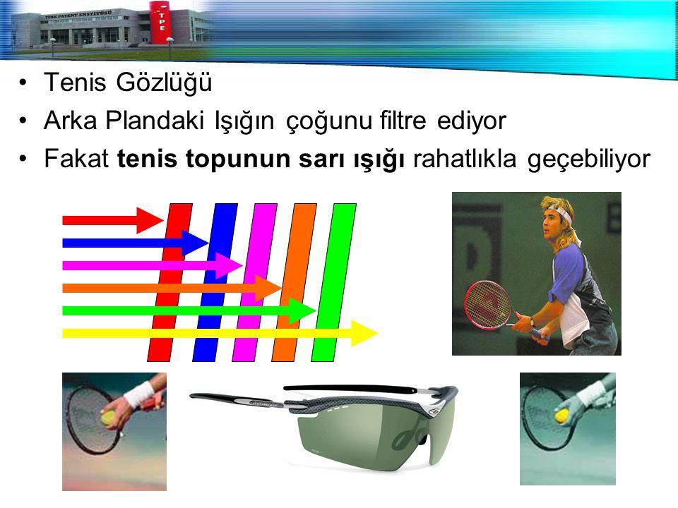Tenis Gözlüğü Arka Plandaki Işığın çoğunu filtre ediyor Fakat tenis topunun sarı ışığı rahatlıkla geçebiliyor