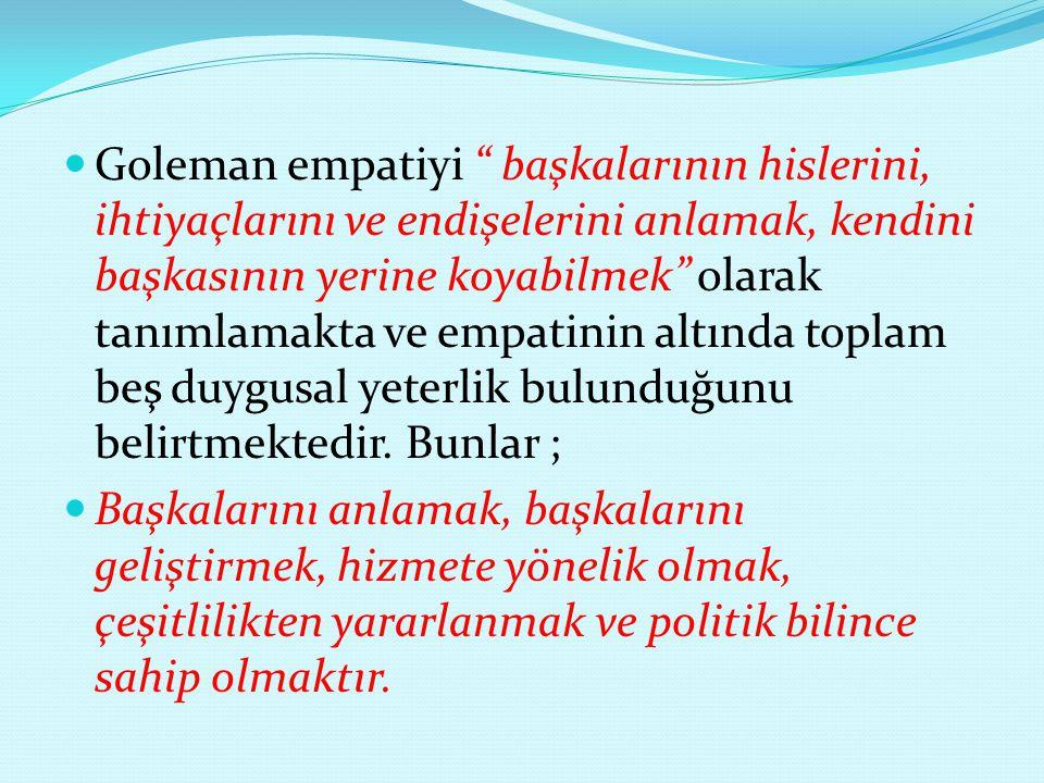 """Goleman empatiyi """" başkalarının hislerini, ihtiyaçlarını ve endişelerini anlamak, kendini başkasının yerine koyabilmek"""" olarak tanımlamakta ve empatin"""