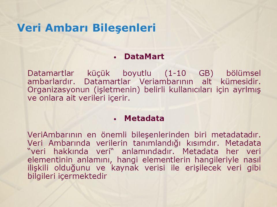  DataMart Datamartlar küçük boyutlu (1-10 GB) bölümsel ambarlardır. Datamartlar Veriambarının alt kümesidir. Organizasyonun (işletmenin) belirli kull