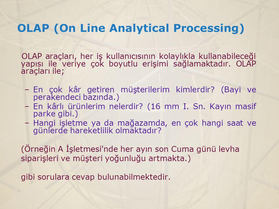 OLAP (On Line Analytical Processing) OLAP araçları, her iş kullanıcısının kolaylıkla kullanabileceği yapısı ile veriye çok boyutlu erişimi sağlamaktad
